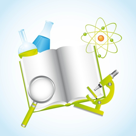 ocular: chemical illustration with book over blue background Illustration