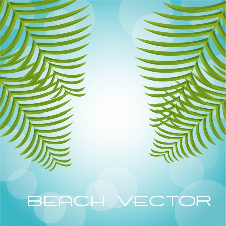 palms over blue background, beach Stock Vector - 14215071