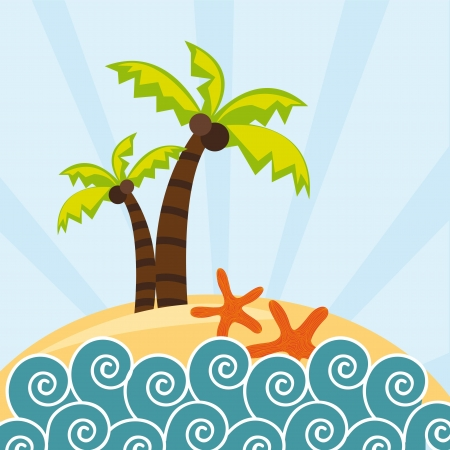 beach with palms and starfish background Vector