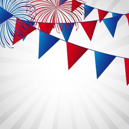 juli: Independence Day met vuurwerk en slingers illustratie