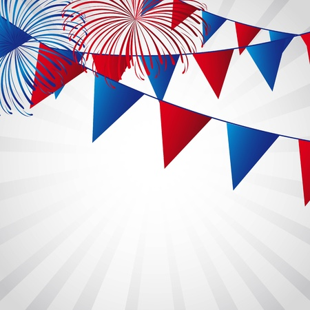 fourth july: independence day with fireworks and festoons illustration