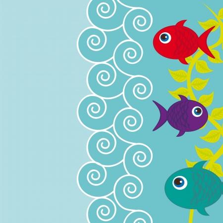 poisson aquarium: fushes mignons avec la mer et l'espace pour la copie Illustration
