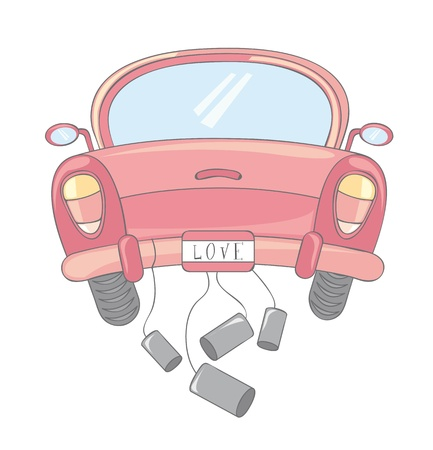 honeymoon: pink car cartoon over white background Illustration