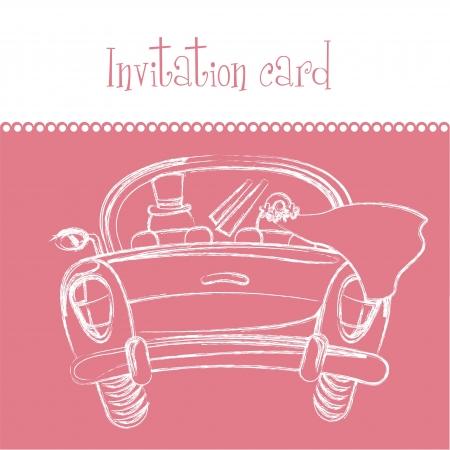 tarjeta de invitación de color rosa, una tarjeta de recién casados