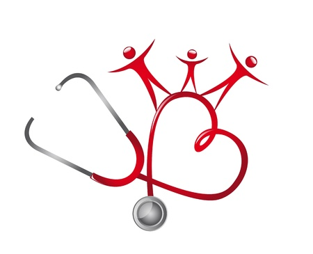 the medic: stethoscope with people isolated over white background