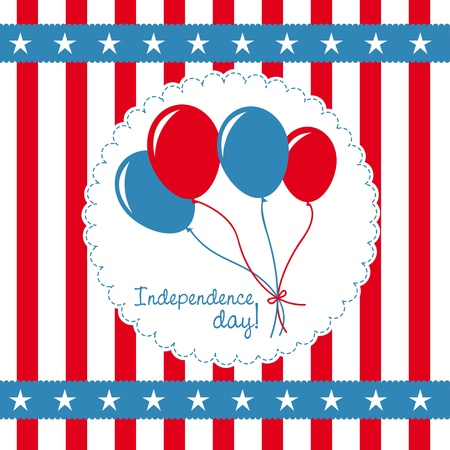 independence day card with balloons Vector