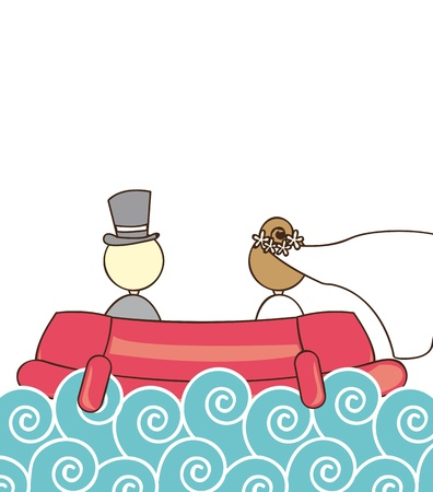 just married: just married over ship and sea