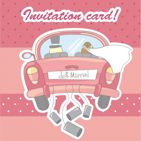 invitation card for marriage over pink background. vector Vector