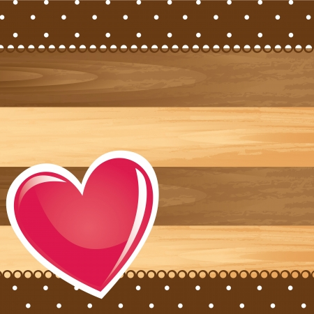 heart over wooden texture with space for copy. vector illustration