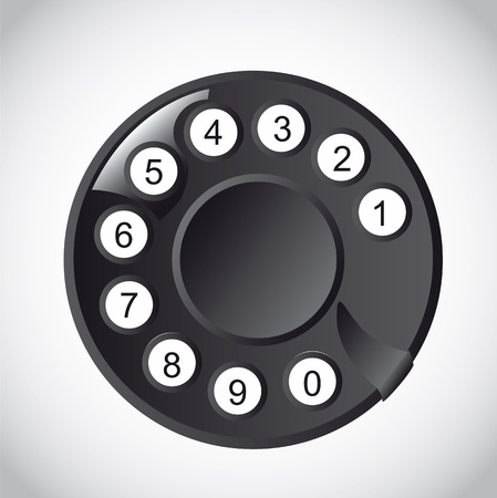 bakelite: Rotary Phone Dial with numbers over white background