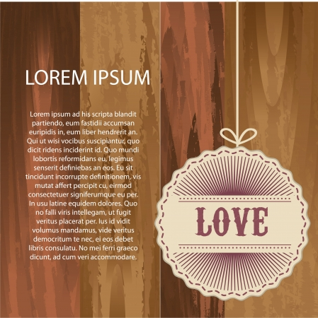 love tag over wooden texture background. vector illustration Vector