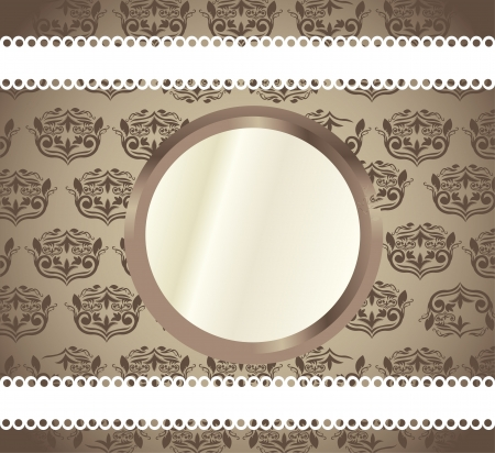 blank shape over brown ornament background Stock Vector - 14322045