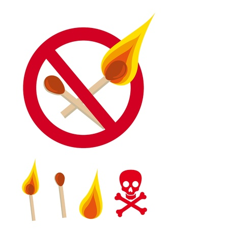 cute matches with danger sign isolated Vector