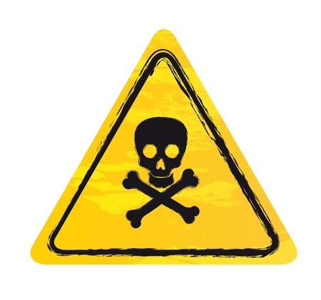 electroshock: yellow danger sign isolated over white background