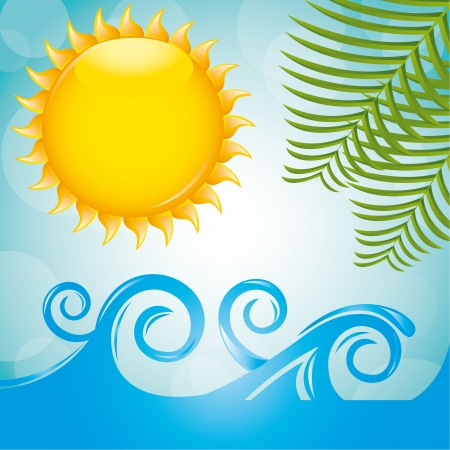 summer landscape with palms, sea and sun Vector