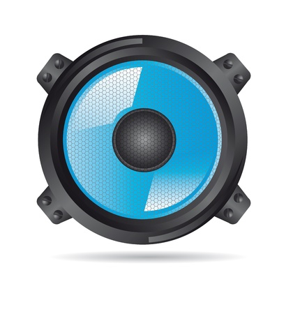acoustic systems: blue speaker with shadow over white background