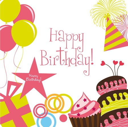 cute birthday card with cakes over white background Vector