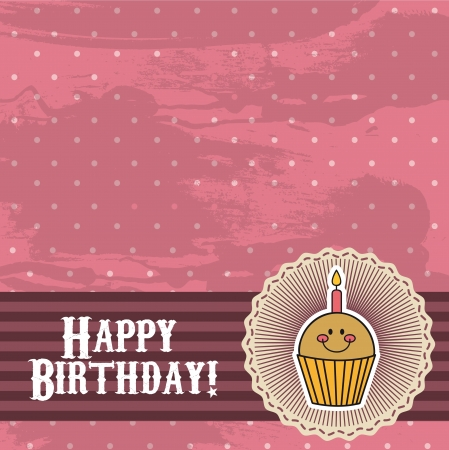 pink birthday card with cup cake Vector