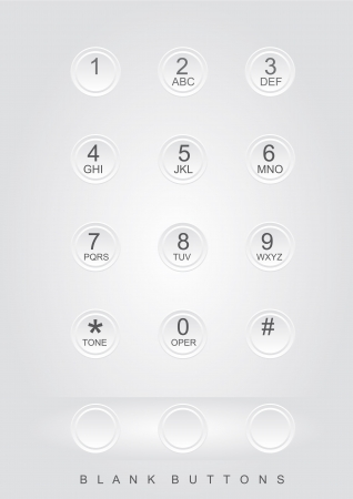 phone numbers: white phone dial with blank buttons Illustration