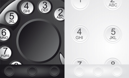 old and new telephones, close up Vector
