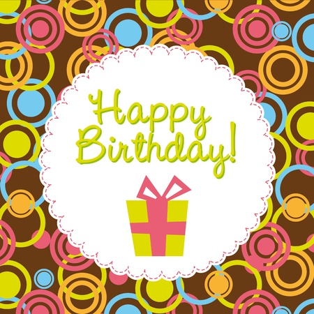cute birthday card with gift Vector