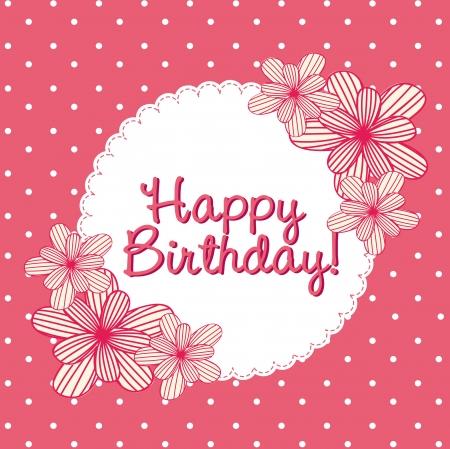 carte d'anniversaire rose avec des fleurs mignonnes