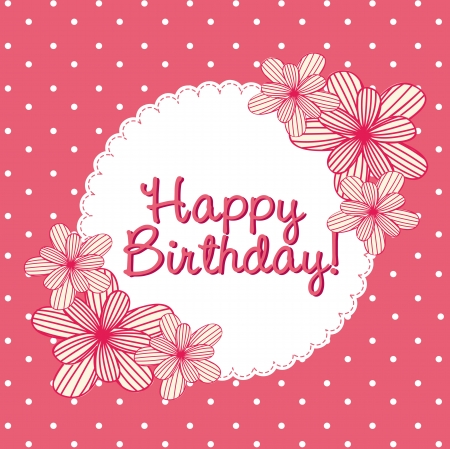 happy people: pink birthday card with cute flowers Illustration
