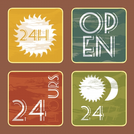 four restaurant signs, vintage Vector