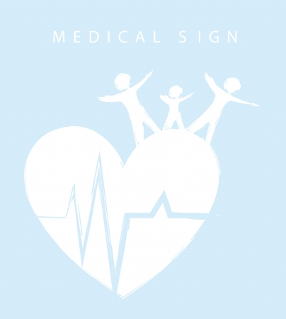 blue and white medical sign with family and heart Vector