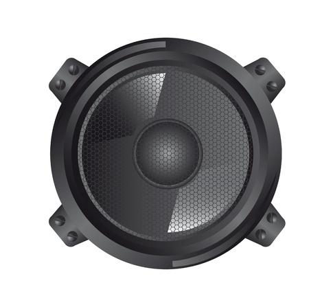 surround: black speaker isolated over whtie background Illustration