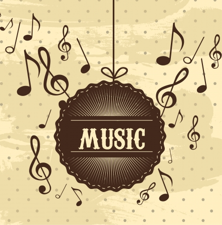 music vintage with notes musical over beige background Vector