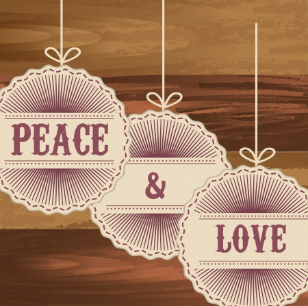 peace and love tags over wooden background Vector