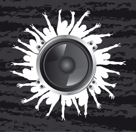 speakers with silhouettes men over grunge background Vector