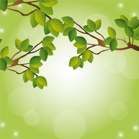 trees over green background with space for copy Vector