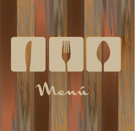 eating utensil: cutlery over wooden texture, menu