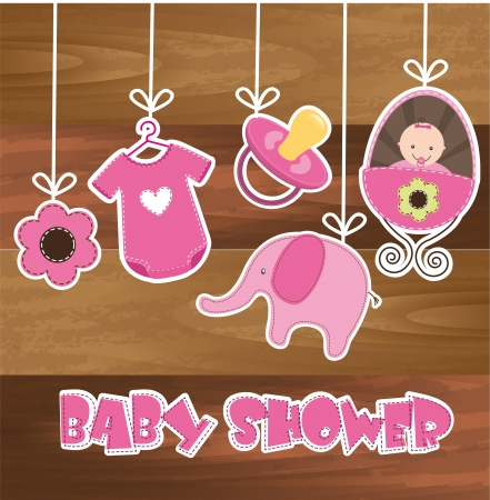 baby shower card with wooden texture Vector