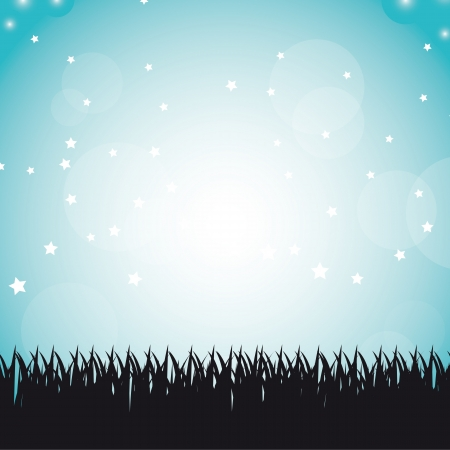 silhouette grass over blue sky background Stock Vector - 14322096