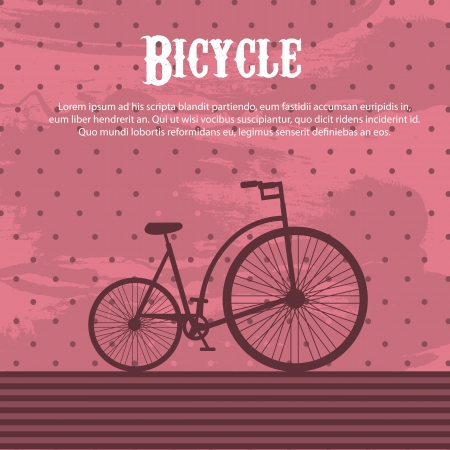 bicycle over pink grunge background Ilustração