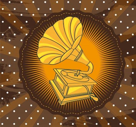 vintage gramophone over brown background Illustration