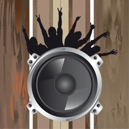 speaker with silhouette men over wooden texture Vector