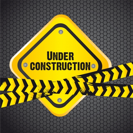 under construction sign over grille background Vector