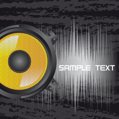yellow speaker with space for copy over grunge background. vector Vector