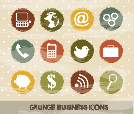 grunge business icons over beige background Stock Vector - 14322138