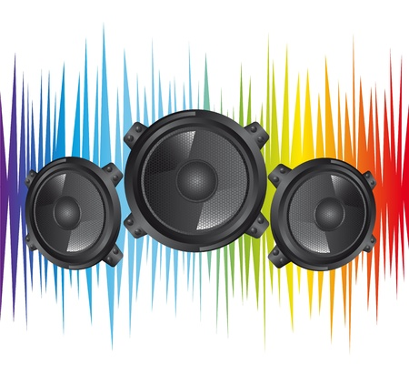 acoustic systems: colorful black speakers over white background Illustration