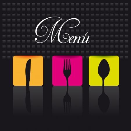 cooking utensils: cutlery over black background