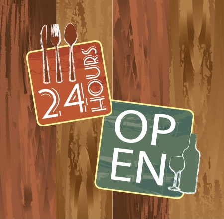 open and 24 hours signs over wooden texture Vector