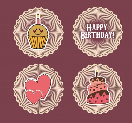 birthday tags over purple background Vector