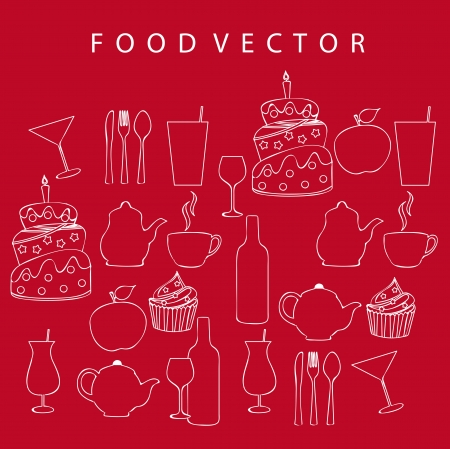 silhouette food over red background Vector