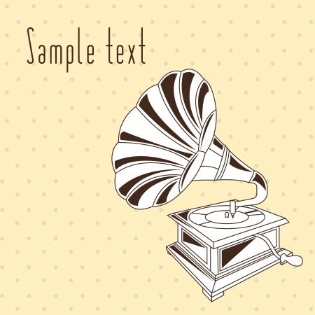 vintage gramophone over beige background Vector