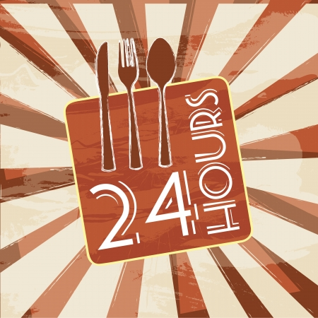 24 hours sign over  vintage background Vector